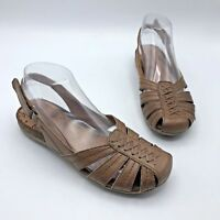Bare Traps Ready Women Brown Leather Slingback Shoe Size 7.5M Pre Owned
