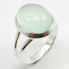 Solid Sterling Silver Natural AQUA CHALCEDONY Slope Ring Size 6.5 Latest Style