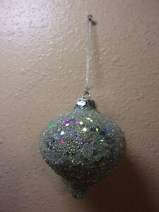 """LOT OF 12 RAZ IMPORTS GLITTERED 4"""" ICED ONION SILVER ORNAMENTS ONLY"""
