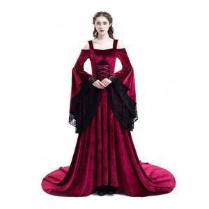 Women Medieval Victoria Retro Lace Dress Halloween PartyCosplay Costume BallGown