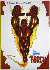 POWER PIN-UP Print - HUMAN TORCH Vintage Art Marvel UK Distribution Fantastic 4