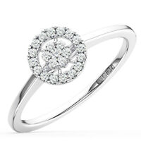 0.15Ct Round Brilliant Cut Diamond Halo Engagement Ring in 18K White Gold