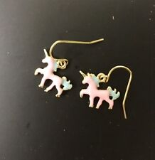 Pastel Pink Flying Unicorn Funky Quirky Kitsch Fashion Dangle Earrings
