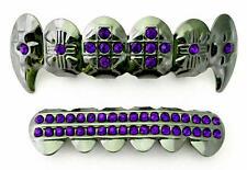 Hip Hop Gun Metal Mouth Teeth  Grillz Upper & Lower Set Purple Stone Cross Fangs