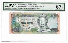 BAHAMAS $ 1/2 50 CENTS (2001) P-68 - UNC BANK NOTE - PMG CERTIFIED 67