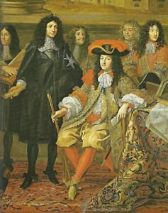 """oil painting on canvas"""" King Louis XIV with his Minister Colbert """"@13009"""