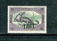 LIBERIA 200, 1921 15c CROCADILE, INVERTED YEAR, MINT, OG, HR  (LIB081)