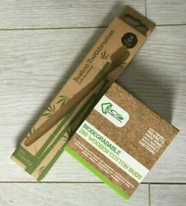 Cotton Buds  Biodegradable Wooden & 3 Toothbrushes Natural Bamboo Eco Friendly