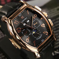 Men's CROMA Automatic Chronometer Day & Date Black Dial Fashion Watch