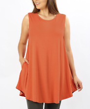 Zenana Outfitters 1X Stretch Jersey Sleeveless Trapeze Pocket Tunic Top Copper