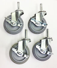 Set Of 4 Grip Ring 4 Stem Casters With Brakes