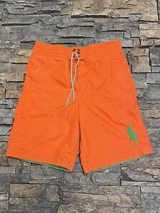 Polo Ralph Lauren Swimwear Orange Boys Board Shorts Swim Trunks Sz M 10/12 Pony