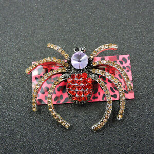 Betsey Johnson Red Gold Crystal Cute Spider Charm Animal Brooch Pin Gift