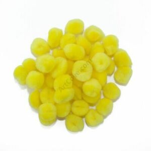0.75 inch Yellow Mini Craft Pom Poms 100 Pieces