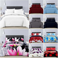 3 Piece Duvet Cover Quilt Bedding Set with Pillow Cases Single Double King Size