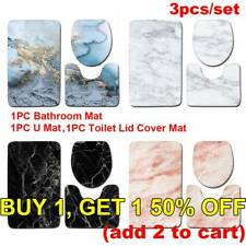 Marble Pattern Toilet Seat Lid Cover Bathroom Mat Set Pedestal Rug Bath Mats