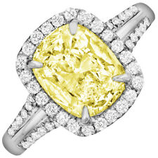 Fancy Yellow GIA Certified Cushion Cut 5.25 CT Diamond Engagement Ring Platinum