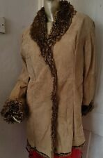 Suede leather faux fur lined coat size 12-14
