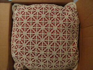 """LOT OF 2  CUSTOM MADE PILLOWS  15.5""""X15.5""""X6""""  SILK COVERED BY CROCHET BEAUTIFUL"""