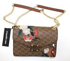 Karl Lagerfeld Paris Embroidered Faux Leather Logo Crossbody handbag