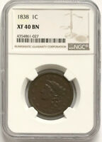 **Rare 1838 1C Coronet Head Large Cent XF40 BN NGC Certified Rare Strong Strike