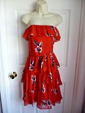 White House Black Market Dress 12 RED Strapless Ruffled Floral Pattern Festive