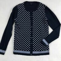 Womens Tommy Hilfiger Size Medium Navy and White Polka Dot Button Up Cardigan