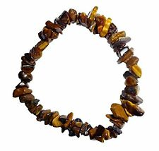 "GOLD TIGER EYE CRYSTAL HEALING GEMSTONE 7"" CHIP STRETCH BRACELET"