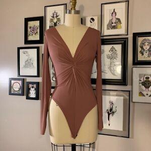 Ex TOPSHOP Burgundy Twist Front Bodysuit   UK 8   US 4   EU 36   (FS94-5)