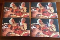 "VINTAGE COCA-COLA Coke Santa Clause Placemats 17.5x11.5"" LOT of 4 SPC 1990 EUC"