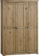 PANAMA NATURAL WAX PINE 3 DOOR WARDROBE *FREE NEXT DAY DELIVERY