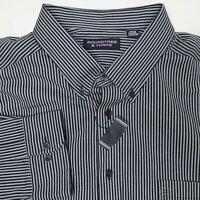 Roundtree & Yorke Gray Black Striped Button Long Sleeve Shirt Mens 3XB 3XL Big