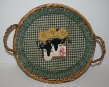 "12"" Round Wicker Basket with Cloth Cow Design Liner"