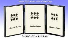 "Shiny Black Metal 3x(3½x5"") Triple Photo Frame with a Thin Edge.(3-400-30)"