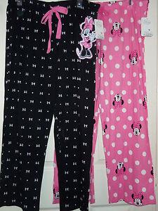 Disney Minnie Mouse Ladies Lounge Pants Sleepwear PJ's Pink Black L XL XXL New