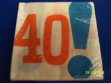 Woohoo 40! White Over the Hill Adult 40th Birthday Party Paper Luncheon Napkins