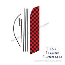 Red and Black Checkered 15ft Feather Banner Swooper Flag Kit with pole+spike