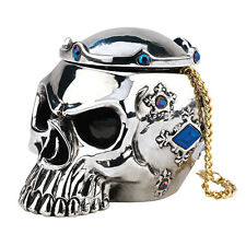 Removable Crown Chrome Color Gothic Skull Trinket and Treasure Box Container