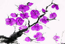 Purple Blossom Chinese Floral Canvas Picture Painting