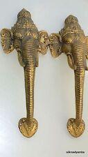 """2 large handles Elephant DOOR PULL HANDLE 13 """" long solid BRASS trunk door age B"""