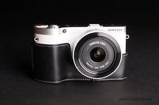 Handmade Genuine real Leather Half Camera Case bag cover for Samsung NX300 black