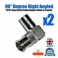 2 Pack TV Aerial Coax Plug Adapter Connector Right Angle 90 Degree Male ~ Female