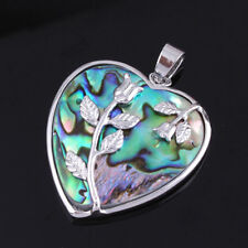 Natural Seashell Abalone Shell Love Heart Shape Rose Flower Shell Beads Pendant