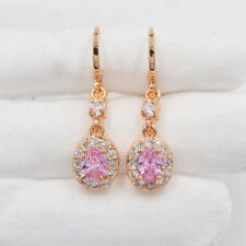 18K Yellow Gold Filled Sparkling Pink Mystic Topaz Dangle Earrings Jewelry