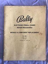 Bally Electronic Pinball Games Repair Procedures Module Replacement Manual