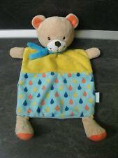 doudou ours jaune bleu orange goutte vertbaudet