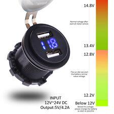 Universal 4.2A Dual USB Charger Voltmeter Voltage12-24V BLUE LED Digital Display