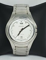 Mens Fossil Blue Stainless Steel Silver Tone White Dial Watch AM 3960 Date A3