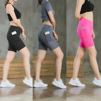 Women's Pro Workout Spandex Shorts with Pocket Gym Running Tight Athletic Wear