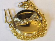 American Football Touchdown GT16 Pewter on a Gold Pocket Watch Quartz fob